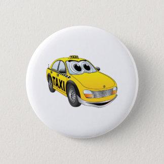 Yellow Taxi Cab Cartoon Pinback Button