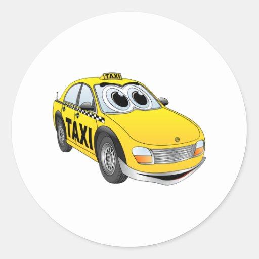 Yellow Taxi Cab Cartoon Sticker