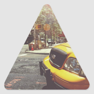 Yellow Taxi Cab of New York City Triangle Sticker