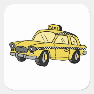 Yellow Taxi Cab Square Sticker