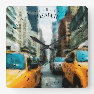 Yellow Taxi Cabs After Rain In New York City Square Wall Clock