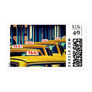 Yellow Taxi Cabs In The City Postage Stamps
