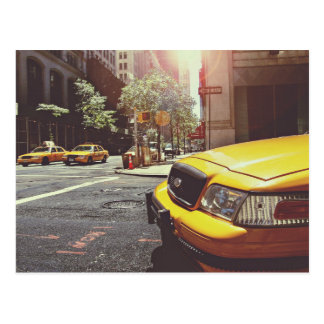 yellow taxi cabs service postcard