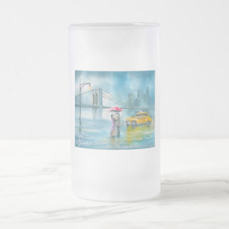 Yellow taxi couple rainy day romantic couple frosted glass beer mug