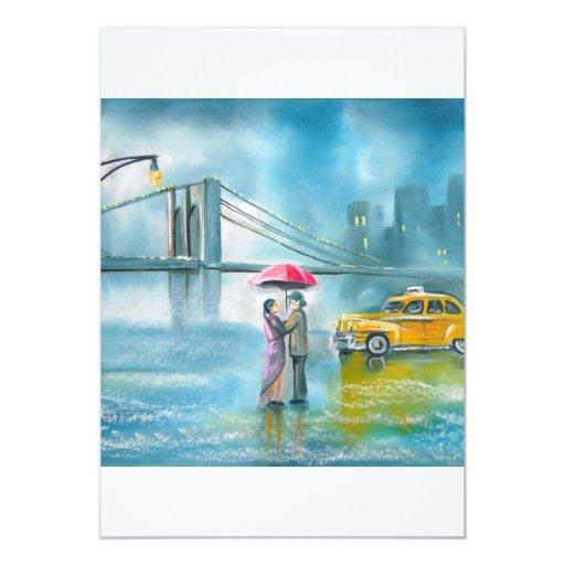 Yellow taxi couple rainy day romantic couple 5x7 paper invitation card
