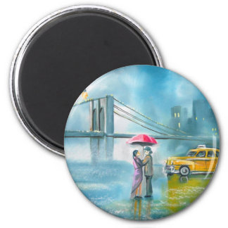Yellow taxi couple rainy day romantic couple fridge magnet