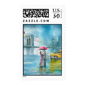 Yellow taxi couple rainy day romantic couple postage
