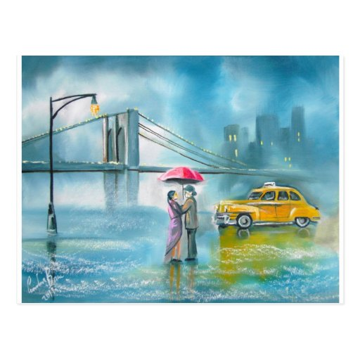 Yellow taxi couple rainy day romantic couple postcard