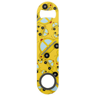 Yellow taxi pattern speed bottle opener