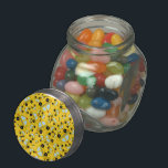 "Yellow taxi pattern jelly belly candy jar<br><div class=""desc"">Modern and trendy cute cartoon yellow taxi car pattern with yellow cars and black and white checkers stripe background for a unique gift. The best taxi gift ideas for men and boys and girls.</div>"