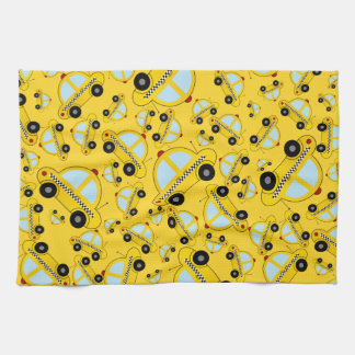 Yellow taxi pattern kitchen towels