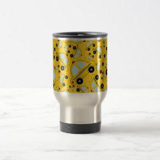 Yellow taxi pattern mugs