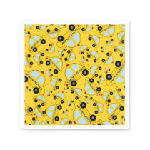 Yellow taxi pattern paper napkin