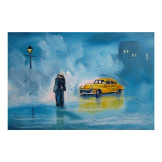 Yellow taxi rainy day romantic couple painting poster