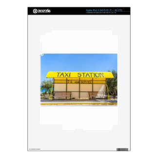 Yellow taxi station at coast in Greece iPad 3 Decal