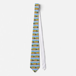Yellow taxi station at coast in Greece Neck Tie