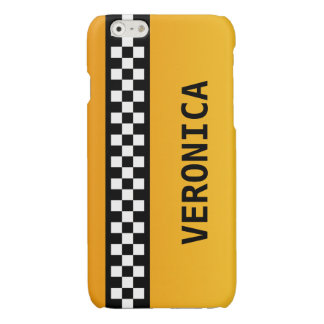"""Yellow Taxi Stripe """"Add Your Name"""" Glossy iPhone 6 Case"""