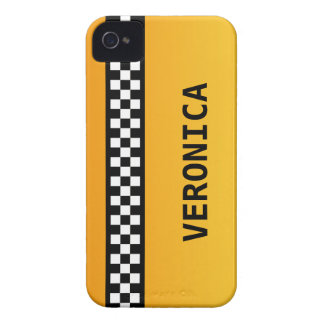 "Yellow Taxi Stripe ""Add Your Name"" iPhone 4 Case-Mate Case"