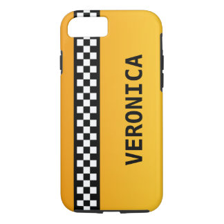 """Yellow Taxi Stripe """"Add Your Name"""" iPhone 8/7 Case"""