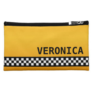 "Yellow Taxi Stripe ""Add Your Name"" Makeup Bag"