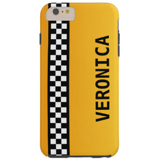 """Yellow Taxi Stripe """"Add Your Name"""" Tough iPhone 6 Plus Case"""