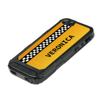 """Yellow Taxi Stripe """"Add Your Name"""" Waterproof iPhone SE/5/5s Case"""
