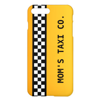 "Yellow Taxi Stripe ""Mom's Taxi Co."" iPhone 8 Plus/7 Plus Case"