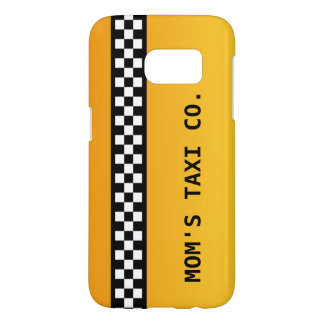 "Yellow Taxi Stripe ""Mom's Taxi Co."" Samsung Galaxy S7 Case"
