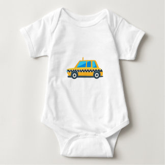 Yellow Taxi Toy Cute Car Icon. Flat Vector Baby Bodysuit
