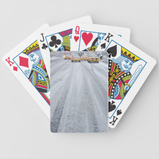 Yellow Taxis in Blizzard Bicycle Playing Cards