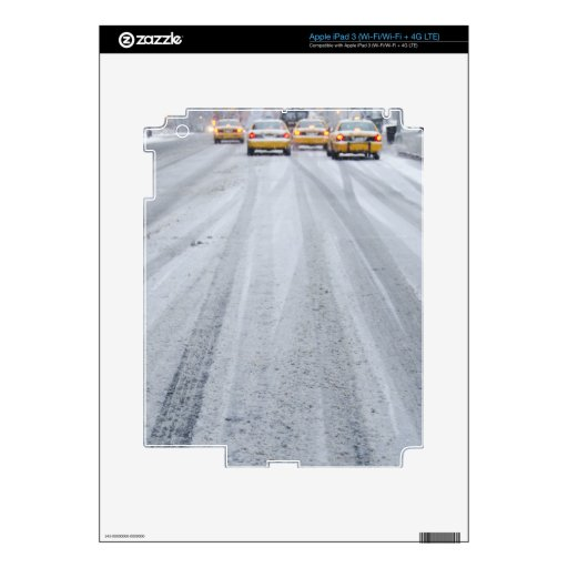 Yellow Taxis in Blizzard Decal For iPad 3