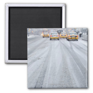 Yellow Taxis in Blizzard Magnet