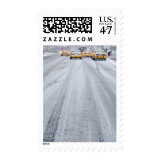 Yellow Taxis in Blizzard Postage Stamp