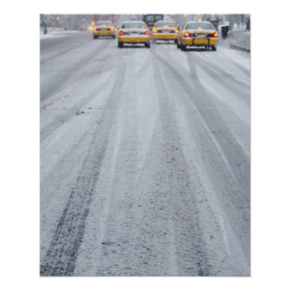 Yellow Taxis in Blizzard Poster