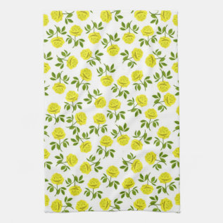 Yellow Tea Roses Kitchen Towel at Zazzle