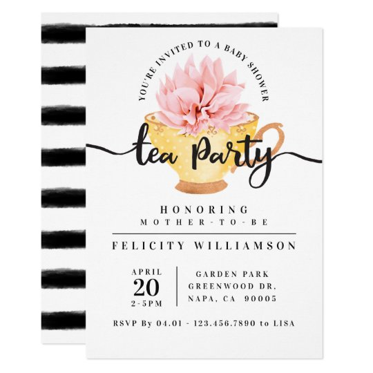 Yellow Teacup Tea Party Baby Shower Invitation Zazzle Com