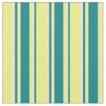 [ Thumbnail: Yellow, Teal & Bisque Colored Stripes Fabric ]