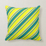 [ Thumbnail: Yellow, Teal & Bisque Colored Stripes Throw Pillow ]