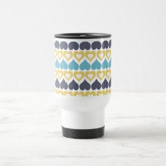 Yellow teal blue heart pattern kitchen gifts travel mug