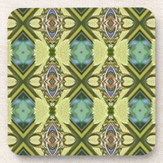Yellow Teal Funky Tribal Kaleidoscope Pattern Coaster