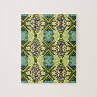 Yellow Teal Funky Tribal Kaleidoscope Pattern Jigsaw Puzzle