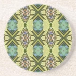 Yellow Teal Funky Tribal Kaleidoscope Pattern Sandstone Coaster