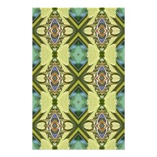 Yellow Teal Funky Tribal Kaleidoscope Pattern Stationery