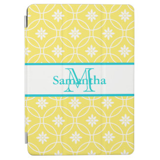 Yellow Teal Geometric Floral Pattern iPad Air Cover