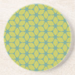 Yellow/Teal Geometric Flower Beverage Coaster