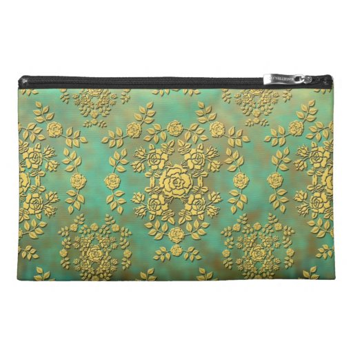 Yellow Teal Green Roses Floral Damask Pattern Travel Accessory Bags