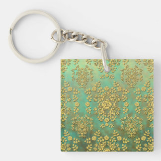 Yellow Teal Green Roses Floral Damask Pattern Keychain