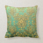 Yellow Teal Green Roses Floral Damask Pattern Throw Pillow