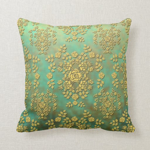 Yellow Teal Green Roses Floral Damask Pattern Throw Pillow Zazzle