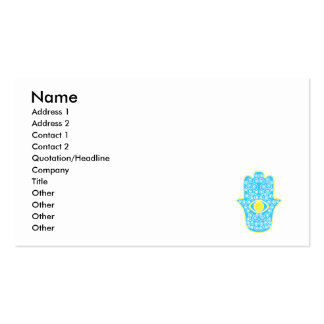 Yellow Teal Hamsa-Hand of Miriam-Hand of Fatima.pn Double-Sided Standard Business Cards (Pack Of 100)